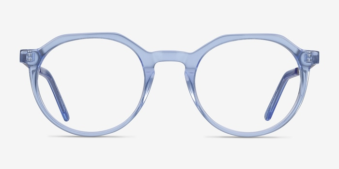 The Cycle Blue Acetate-metal Eyeglass Frames from EyeBuyDirect, Front View