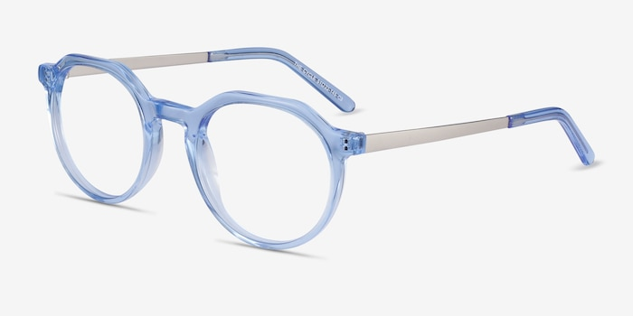 The Cycle Blue Acetate Eyeglass Frames from EyeBuyDirect, Angle View