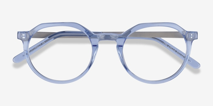 The Cycle Blue Acetate Eyeglass Frames from EyeBuyDirect, Closed View