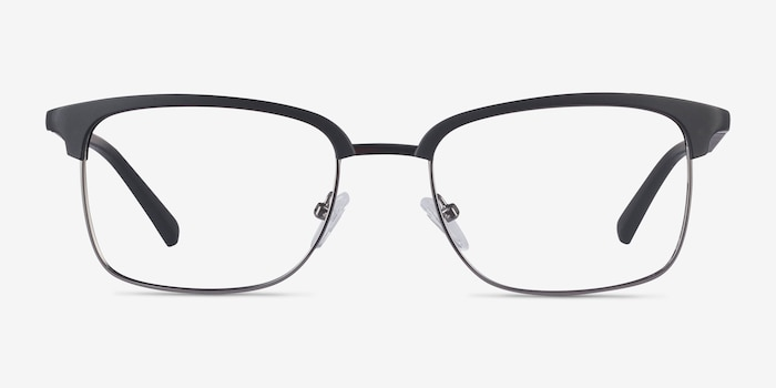 Osten Black Metal Eyeglass Frames from EyeBuyDirect, Front View