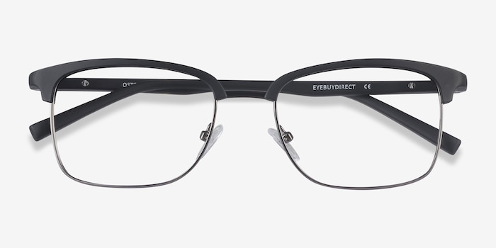 Osten Black Metal Eyeglass Frames from EyeBuyDirect, Closed View