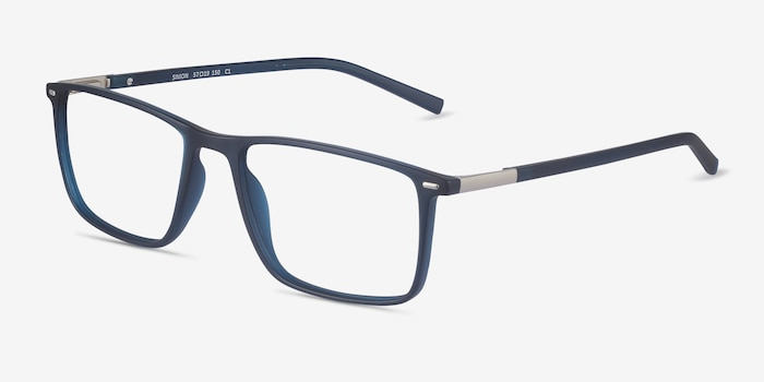 Simon Navy Plastic-metal Eyeglass Frames from EyeBuyDirect, Angle View