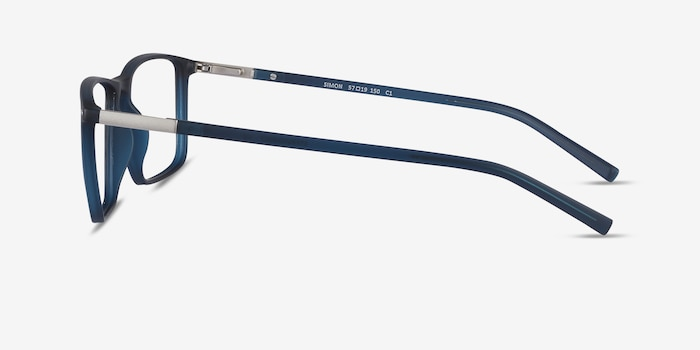 Simon Navy Metal Eyeglass Frames from EyeBuyDirect, Side View