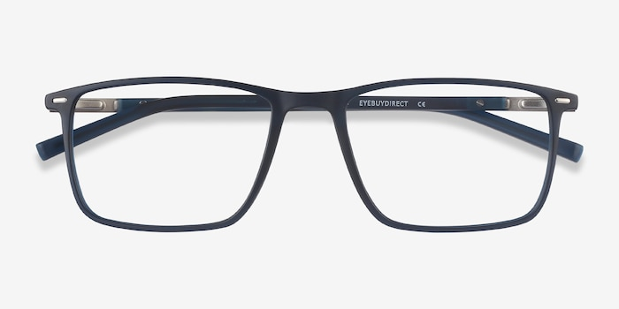 Simon Navy Metal Eyeglass Frames from EyeBuyDirect, Closed View