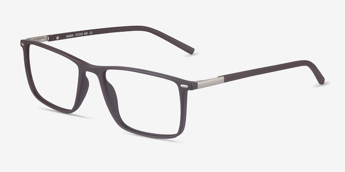 Simon Coffee Metal Eyeglass Frames from EyeBuyDirect, Angle View