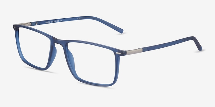 Simon Blue Plastic-metal Eyeglass Frames from EyeBuyDirect, Angle View