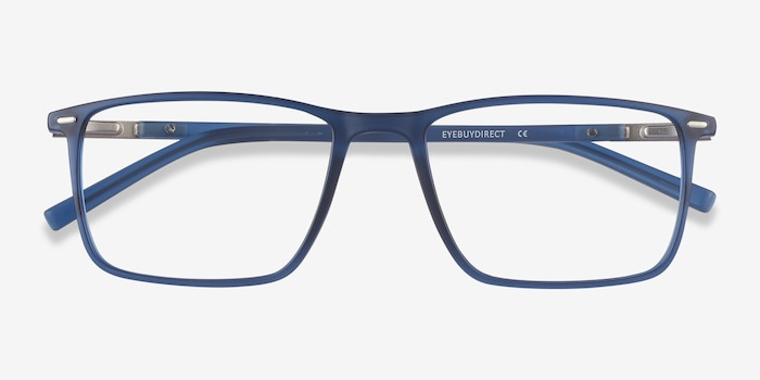Simon Blue Plastic-metal Eyeglass Frames from EyeBuyDirect, Closed View