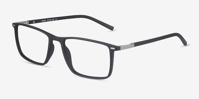 Simon Black Plastic-metal Eyeglass Frames from EyeBuyDirect, Angle View