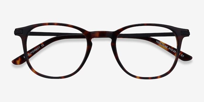 Toulouse Tortoise Acetate Eyeglass Frames from EyeBuyDirect, Closed View