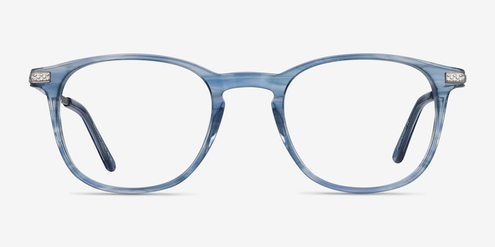 Toulouse Blue Acetate Eyeglass Frames from EyeBuyDirect, Front View