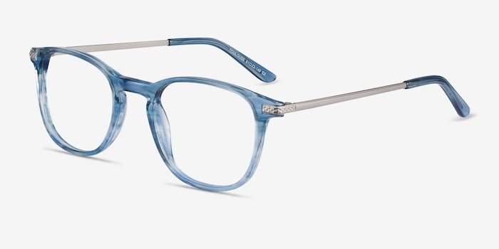 Toulouse Blue Acetate Eyeglass Frames from EyeBuyDirect, Angle View