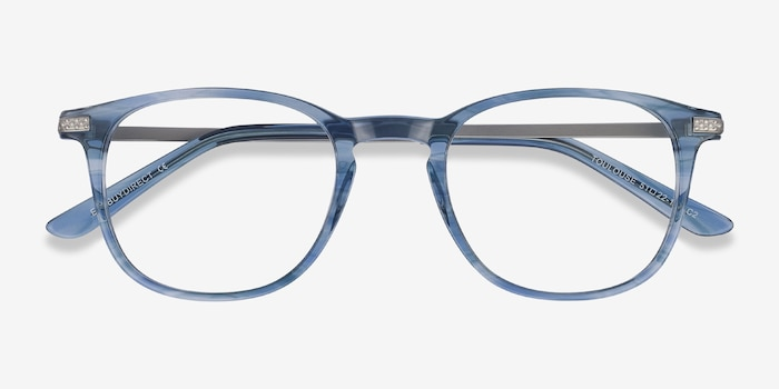 Toulouse Blue Acetate Eyeglass Frames from EyeBuyDirect, Closed View