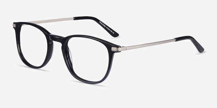 Toulouse Black Metal Eyeglass Frames from EyeBuyDirect, Angle View