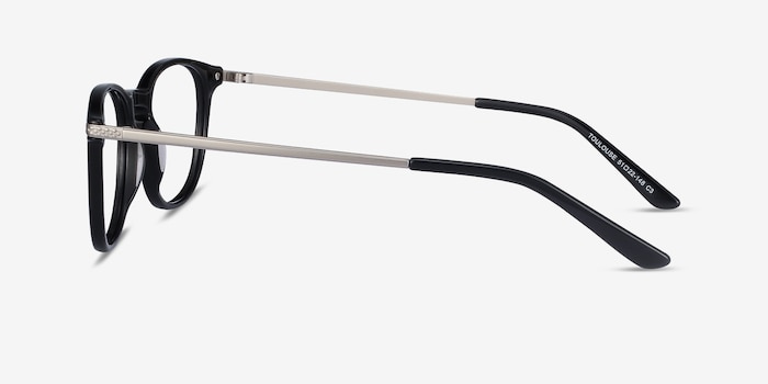 Toulouse Black Acetate Eyeglass Frames from EyeBuyDirect, Side View