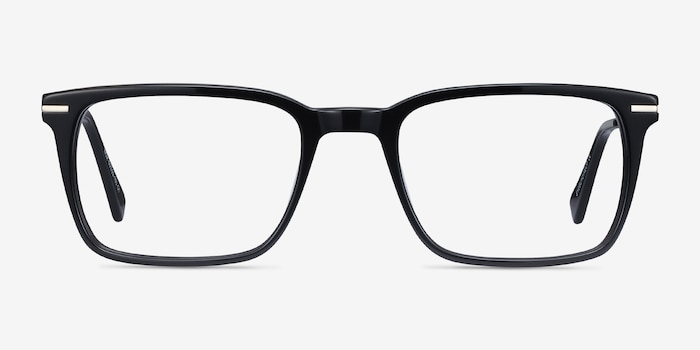 Nox Black Acetate Eyeglass Frames from EyeBuyDirect, Front View