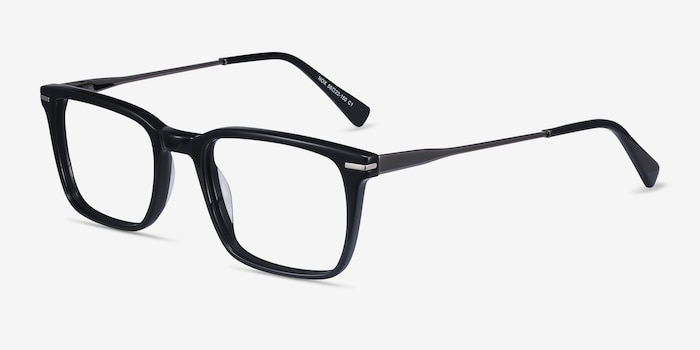 Nox Black Metal Eyeglass Frames from EyeBuyDirect, Angle View