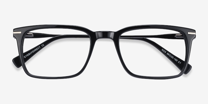 Nox Black Metal Eyeglass Frames from EyeBuyDirect, Closed View