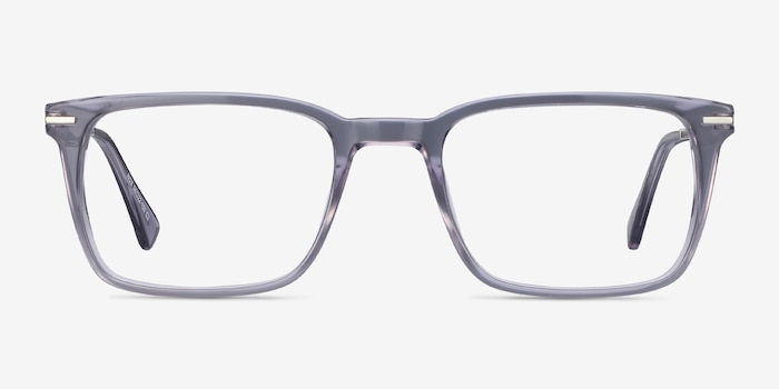 Nox Gray Metal Eyeglass Frames from EyeBuyDirect, Front View