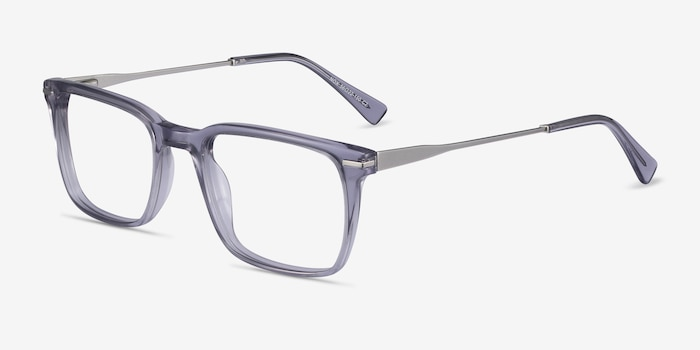 Nox Gray Metal Eyeglass Frames from EyeBuyDirect, Angle View