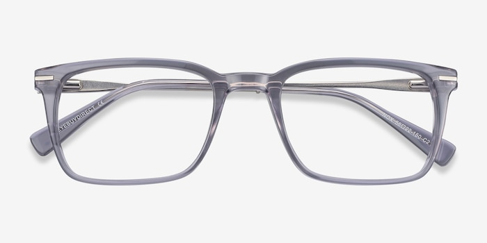 Nox Gray Metal Eyeglass Frames from EyeBuyDirect, Closed View