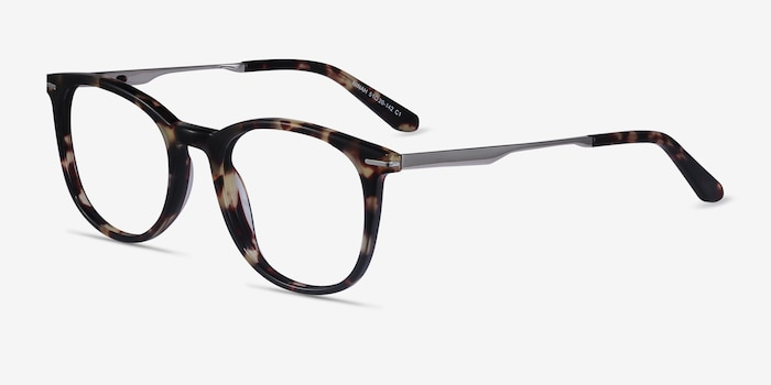 Ninah Tortoise Metal Eyeglass Frames from EyeBuyDirect, Angle View