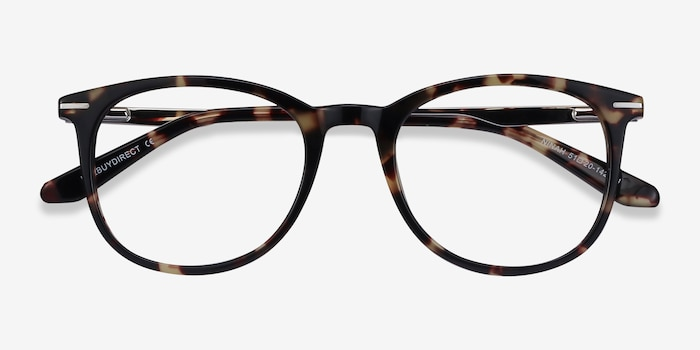 Ninah Tortoise Metal Eyeglass Frames from EyeBuyDirect, Closed View