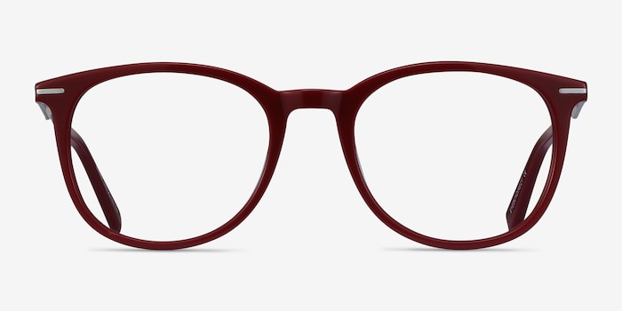 Ninah Burgundy Acetate Eyeglass Frames from EyeBuyDirect, Front View