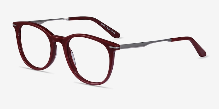Ninah Burgundy Eyeglass Frames from EyeBuyDirect, Angle View