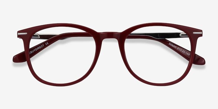 Ninah Burgundy Eyeglass Frames from EyeBuyDirect, Closed View