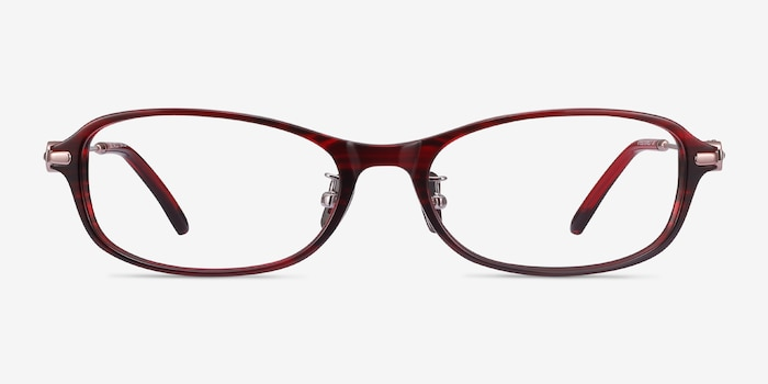 Lise Red Striped Acetate Eyeglass Frames from EyeBuyDirect, Front View