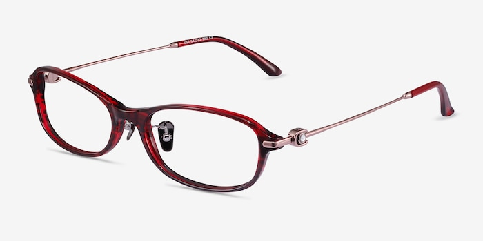 Lise Red Striped Acétate Montures de Lunettes d'EyeBuyDirect, Vue d'Angle