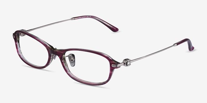 Lise Pink Striped Acétate Montures de Lunettes d'EyeBuyDirect, Vue d'Angle