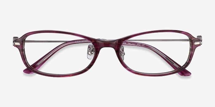 Lise Pink Striped Acétate Montures de Lunettes d'EyeBuyDirect, Vue Rapprochée