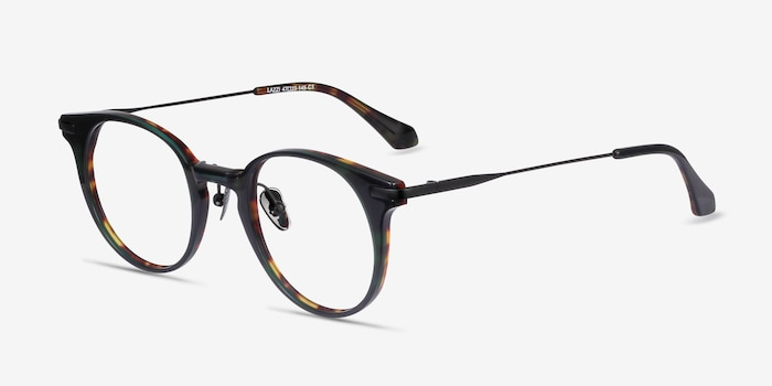 Lazzi Green Tortoise Acetate Eyeglass Frames from EyeBuyDirect, Angle View