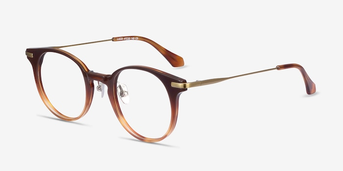 Lazzi Brown Acetate Eyeglass Frames from EyeBuyDirect, Angle View