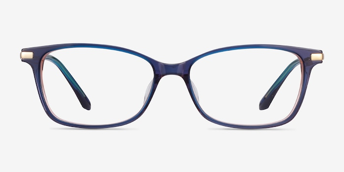 Vanda Blue Metal Eyeglass Frames from EyeBuyDirect, Front View