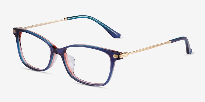 Vanda Blue Metal Eyeglass Frames from EyeBuyDirect, Angle View