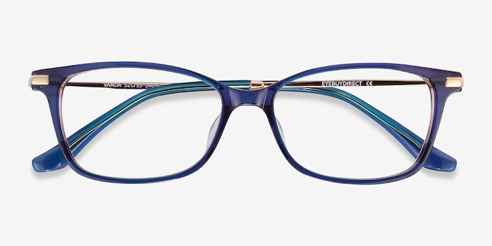 Vanda Blue Metal Eyeglass Frames from EyeBuyDirect, Closed View