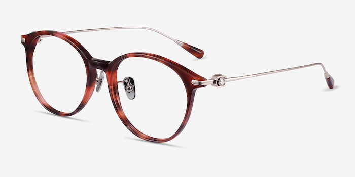 Colette Pink Tortoise Acetate Eyeglass Frames from EyeBuyDirect, Angle View