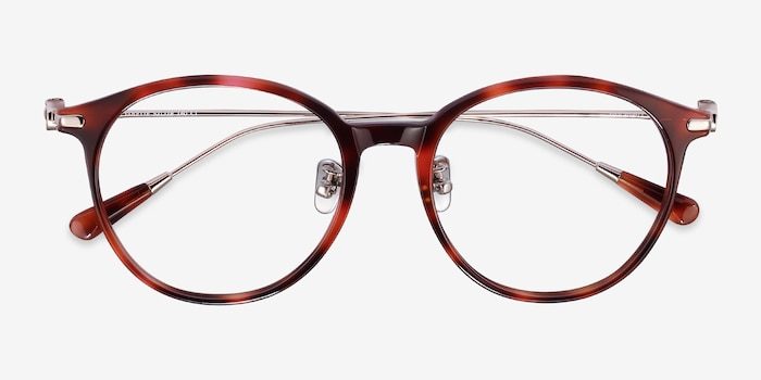 Colette Pink Tortoise Acetate Eyeglass Frames from EyeBuyDirect, Closed View