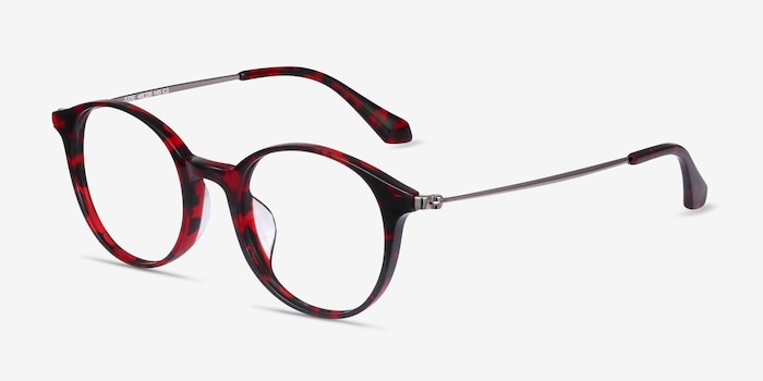 Jude Red Tortoise Acétate Montures de Lunettes d'EyeBuyDirect, Vue d'Angle