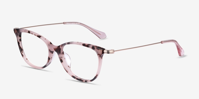 Idylle Pink Tortoise Acetate Eyeglass Frames from EyeBuyDirect, Angle View