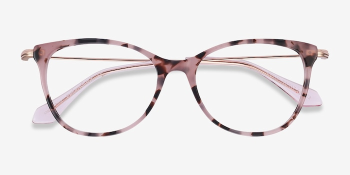 Idylle Pink Tortoise Metal Eyeglass Frames from EyeBuyDirect, Closed View