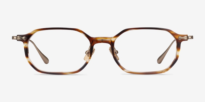 Lampito Striped Acetate Eyeglass Frames from EyeBuyDirect, Front View
