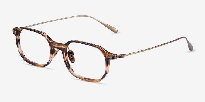 Lampito Striped Acetate Eyeglass Frames from EyeBuyDirect, Angle View