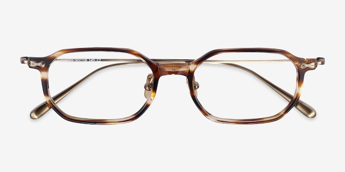 Lampito Striped Acetate Eyeglass Frames from EyeBuyDirect, Closed View