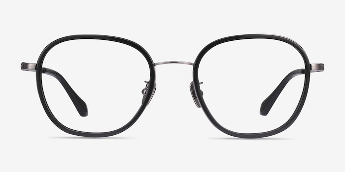Beyond Black Acetate Eyeglass Frames from EyeBuyDirect, Front View