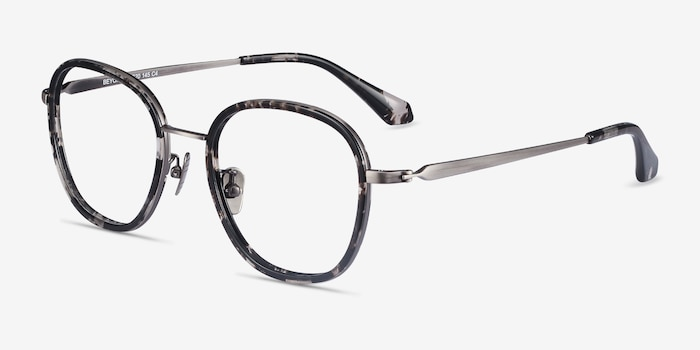 Beyond Gray Floral Acetate Eyeglass Frames from EyeBuyDirect, Angle View