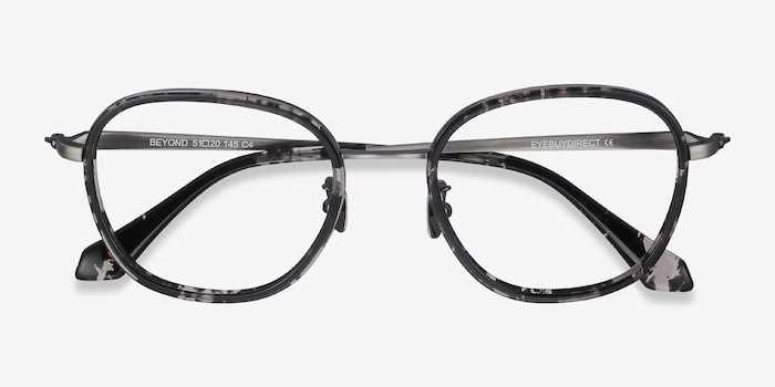 Beyond Gray Floral Acetate Eyeglass Frames from EyeBuyDirect, Closed View