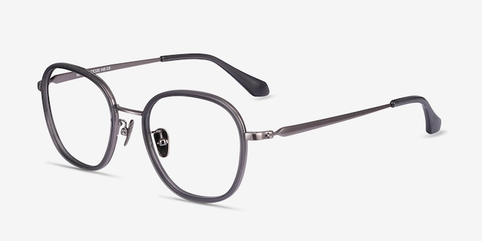 Beyond Gray Acetate Eyeglass Frames from EyeBuyDirect, Angle View